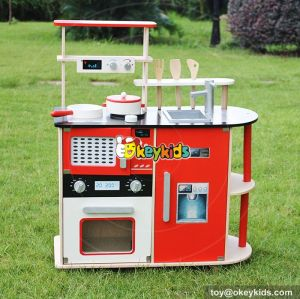 New design luxurious red lifestyle wooden kids play kitchen W10C211