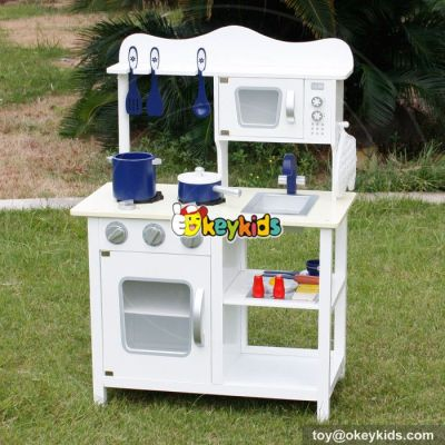 Okeykids Top sale cooking set toy kids wooden white kitchen toy W10C045