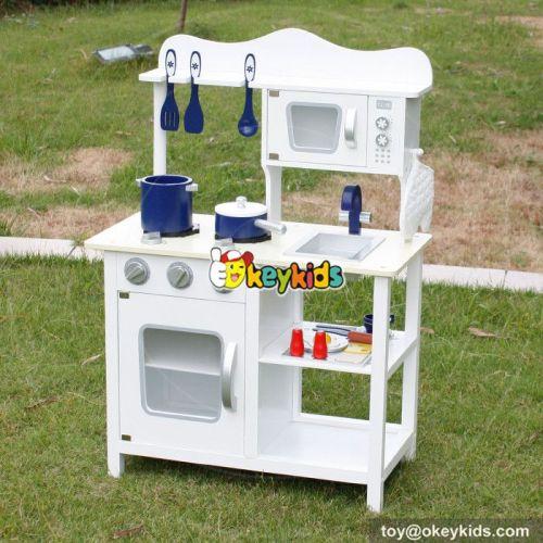Okeykids Top sale cooking set toy kids wooden white kitchen toy W10C045