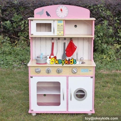 Okeykids New design children cooking set toy wooden girls kitchen toys W10C238
