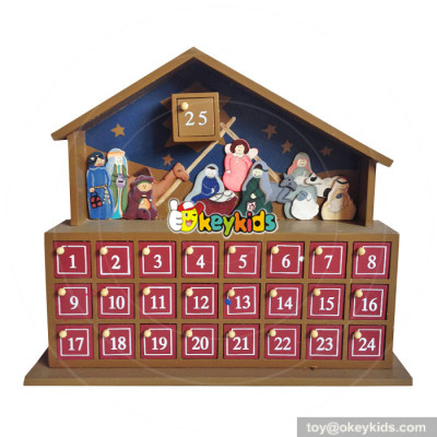 Top fashion kids Christmas gifts wooden nativity advent calendar W02A178