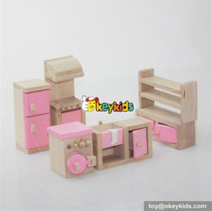 Best 5 pieces pink wooden miniature kitchen dollhouse accessories for kids W06B016