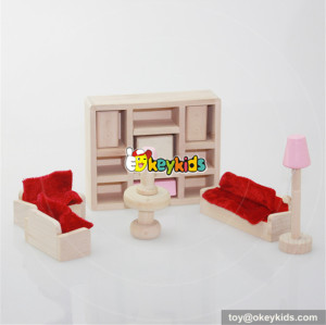Best 11 pieces pink girls wooden miniature lounge room dollhouse accessories for sale W06B017