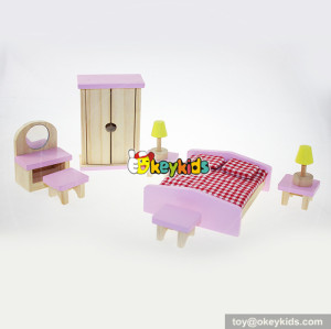 Best children miniature living room wooden dolls house furniture for kids W06B026