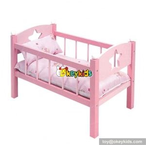 Best sale children pretend play wooden toy doll bed for wholesale W06B007
