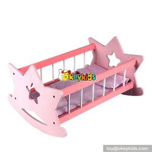 Best sale children pretend play wooden baby doll bed for dolls W06B008