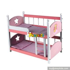 Wholesale cheap kids toy wooden doll bunk beds with ladder W06B010