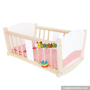 Best design lovely pink children furniture toys wooden dolls cot for sale W06B036