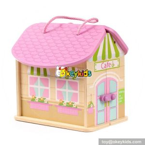 Top fashion little girls toy wooden portable dollhouse for sale W06A171