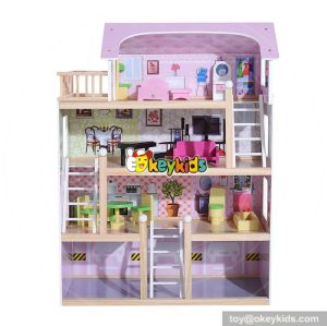 Best design children diy multi-Level wooden miniature dollhouse for your child W06A238