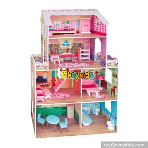 Best design pink girls multi-Level wooden big doll house for kids W06A239