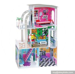Best design children diy multi-Level wooden large dolls house for sale W06A240