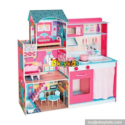 10 Best multi-function wooden diy girls dollhouse and kitchen toy for sale W06A242