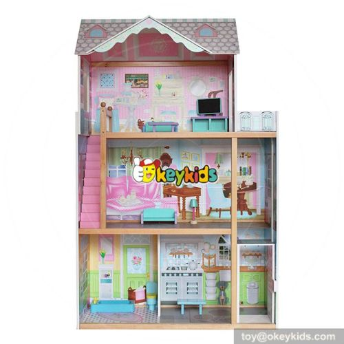 Okeykids 10 Best handmade large wooden girls toy miniature house for sale W06A247