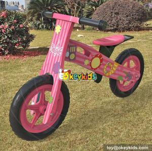 New design cartoon pink wooden toddler push bike for sale W16C179