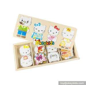 cheap children wooden cat toy popular baby wooden cat toy W14D015