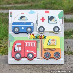 wholesale best car shaped wooden toddler puzzles W14D022