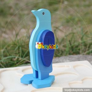 wholesale baby diy penguin wooden animal puzzle  best children's wooden animal puzzle W14G041