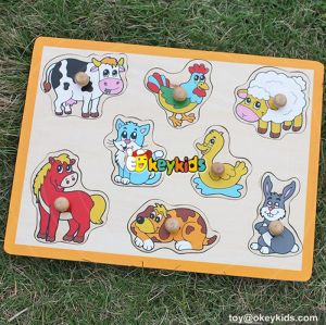 wholesale top fashion wooden animal puzzle intelligence wooden animal puzzle W14M088