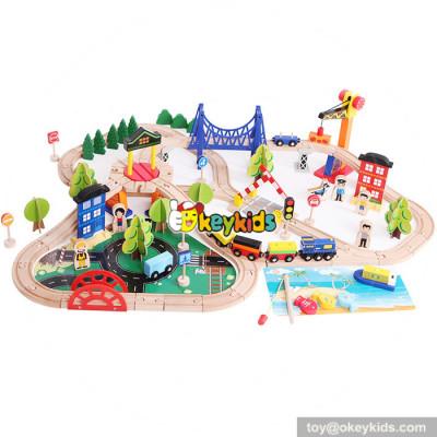 10 Best children funny railway toys wooden train set for sale W04C066
