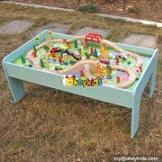 Best transportation station children wooden train set table for sale W04C071
