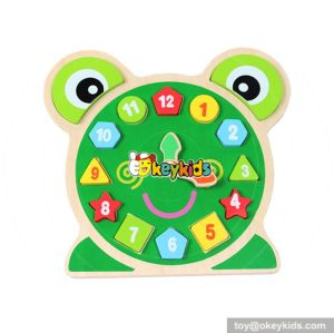 wholesale baby wooden puzzle clock top fashion children wooden puzzle clock W14K004