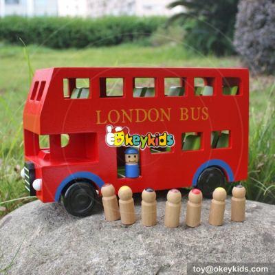 Cartoon London city bus model mini wooden double decker bus toy for kids W04A161
