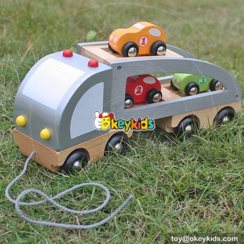 Cartoon pull and push wooden car transporter toy for children W04A186