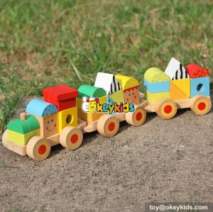 Best design funny baby stacking toys wooden block train for sale W04A282