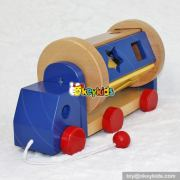 Top fashion kids cartoon cars with blocks wooden push toys W04A294