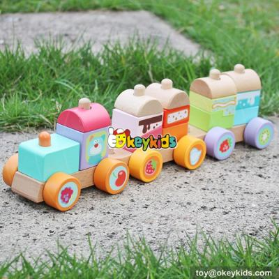 Okeykids Classic blocks toy wooden stacking train for toddlers W04A304