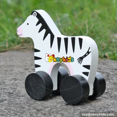 Best design toddlers car toys wooden wheels zebra toy W04A316