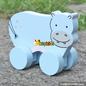 Best design toy hippopotamus toddlers car toys wooden cartoon hippo toy W04A317