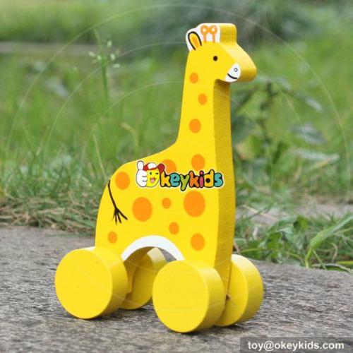 Best design cartoon toddlers car toys wooden giraffe toy W04A319