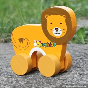 Best design cartoon lion toys wooden car toy for toddlers W04A320