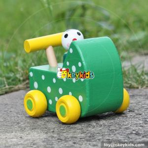 New design cartoon animals wooden mini toy cars for toddlers W04A324