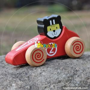New design tiger face children mini car toys wooden toy cars for kids W04A333