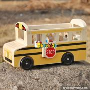 New design travel bus and people cartoon mini wooden toy trucks for sale W04A340