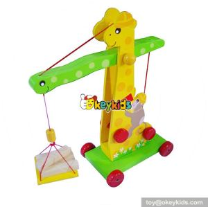 New design funny cartoon mini wooden toy crane for kids W04A298