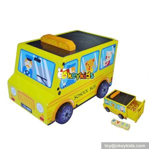 Most popular cartoon mini toddlers wooden toy school bus W04A305