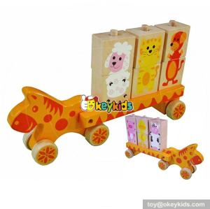 Most popular funny toddlers wooden toy car transporter W04A307