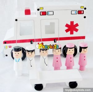 Most popular small wooden ambulance toy for kids W04A309