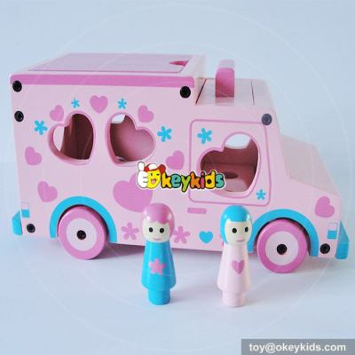 Wholesale cheap mini wooden ambulance toy for children W04A309