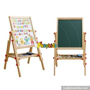 Best design double-sided adjustable wooden children magnetic drawing board Chalk Blackboard & White Dry Erase Surface | Magnetic Sponge, Marker Pen, Chalks and Bottom Tray | For Learning W12B107