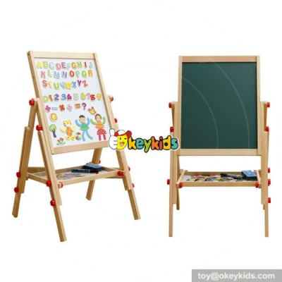 Best design double-sided adjustable wooden children magnetic drawing board Chalk Blackboard & White Dry Erase Surface   Magnetic Sponge, Marker Pen, Chalks and Bottom Tray   For Learning W12B107