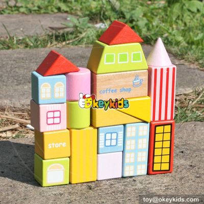 wholesale new design 19 pieces wooden blocks for kids funny house shape wooden blocks for kids W13A119