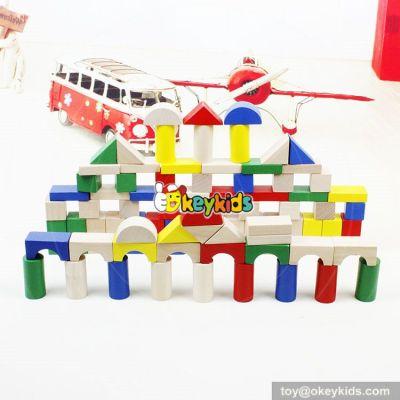 wholesale colorful 80 pieces kids wooden toy connecting building blocks best sale children wooden building blocks W13A137