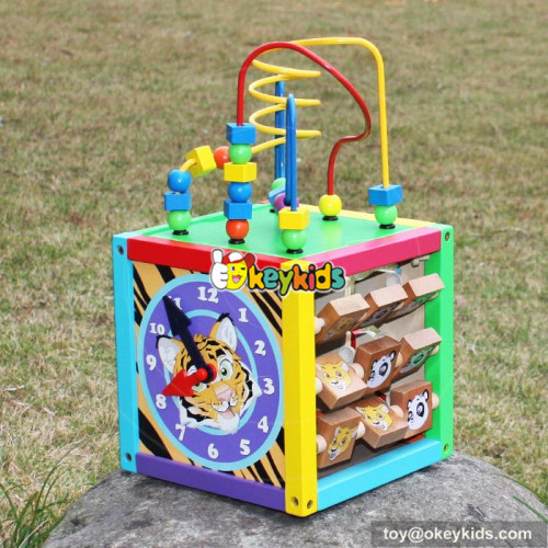 Okeykids Multi-function toddlers wooden activity cube toy for preschoolers W11B137