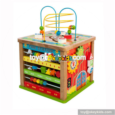 Wholesale funny children wooden beads cube toy most popular kids wooden beads cube toy W11B143