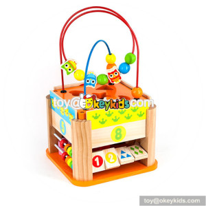 Wholesale new product wooden activity cube toy interesting kids wooden activity cube toy W11B145